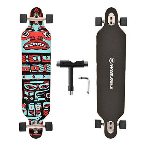 WIN.MAX Skateboard longboard a 7 strati, in legno d'acero, con cuscinetti a sfera ABEC-11 e T-Tool (Haida)