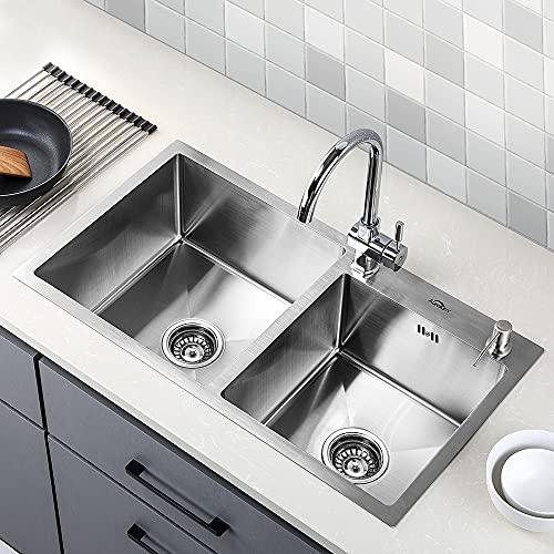 Auralum - Lavelli da Cucina in Acciaio Inox 304 Lavandino Cucina Spazzolato Vasca Doppia (78 x 43 x 22 cm)