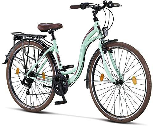 Licorne Bicicletta Olandese Stella Bike, City Bike da 24,26 e 28 Pollici, Adatta Sia a Uomini Che a Donne, con Cambio a 21 Marce, Donna, Menta, 28