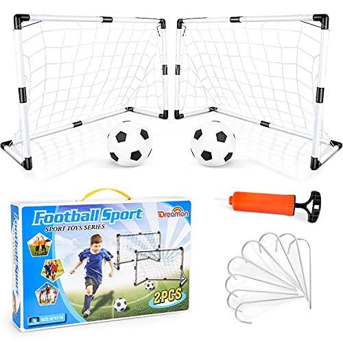 Dreamon Set di 2 Porte da Calcio per Bambini con Palla e Pompa Giocattolo Sportivo per Esterni Indoor