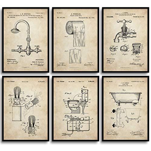 MONOKO, poster da bagno con immagine di accessori da bagno, elegante, set da 6 pezzi, senza cornice