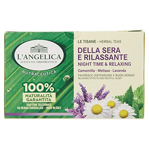 L'Angelica Tisana Funzionale Calmante e Rilassante per Dormire a Base di Camomilla e Passiflora, Tisane con Effetto Distensivo, Vegan, Confezione da 20 Filtri