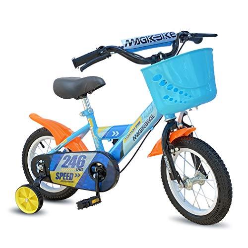 Mediawave Store - Bicicletta per Bambino Colore Blu con Cestino e Rotelle di Supporto Smontabili, Bici per Bambini, Sella Regolabile, Ruote Gonfiabili, Freni Anteriori e Posteriori, MAGIC (Taglia 14)