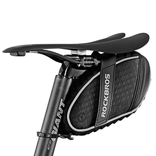 ROCKBROS Borsa da Sella per Bicicletta Impermeabile, Sottosella per Bici MTB, Grande capacità, Catarifrangente, Leggera,Nero