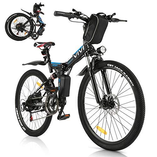 Vivi Bicicletta Elettrica Pieghevole, 250W Mountain Bike Elettriche per Adulti,26' E-Bike con Batteria Rimovibile 8Ah