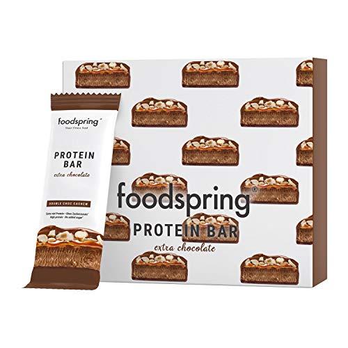 foodspring Barretta Proteica Extra Cioccolato, Doppio Cioccolato e Anacardi, 12x65g, Il perfetto snack ad alto contenuto proteico con vero cioccolato e meno zucchero