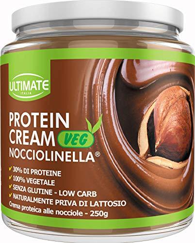 Ultimate Italia Protein Cream Veg Nocciolinella - Crema Proteica Spalmabile Vegana Col 30% Di Proteine Vegetali – 100% Vegetale - Con Anacardi E Mandorle - Senza Glutine - Low Carb, 250 G