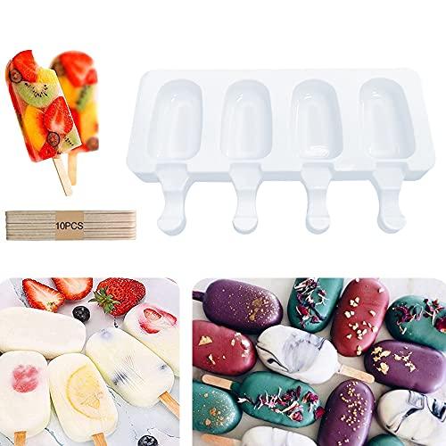 Muffa del gelato del silicone Muffa del creatore della lecca lecca di schiocco del ghiaccio Dessert congelato Vassoio del ghiacciolo Strumenti domestici della cucina Pan + 10pcs Bastoni di legno