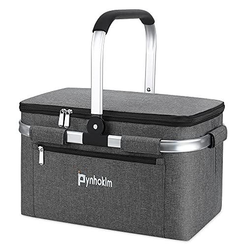 Cestino da picnic, borsa termica per la spesa, borsa alla moda, borsa per la spesa, borsa Cooler Bag, borsa frigo per il trasporto, Breakfast, Lunch (22 litri, grigio)
