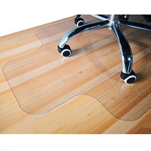 GIOVARA - Tappetino trasparente per sedia con bordo per pavimenti duri, 90 x 120 cm, ad alta resistenza agli urti, antiscivolo, materiale non riciclabile