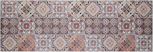 Baroni Tappeto Passatoia in Vinile da Cucina 60x180 Cm Decoro Maioliche Colorato in PVC Antiscivolo Lavabile