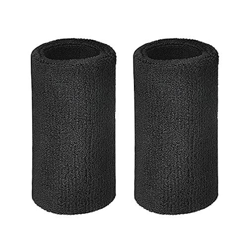 Lvcky - Polsini sportivi da 15 cm in cotone, elastici, fasce da polso per sport, confezione da 2