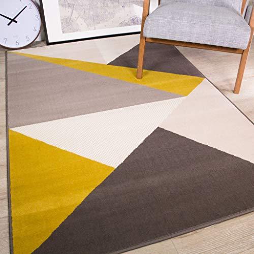The Rug House Moderno Tappeto Collezione Casa Milan con Design Geometrico Color Ocra Giallo Senape Oro Grigio Perfetto per Corridoio Salotto Sala Cucina Camera