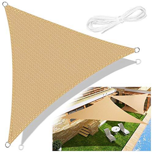 Emooqi Tenda a Vela Triangolare 3x3×3m, Vela Ombreggiante (Hdpe) Protezione UV per Terrazza Campeggio Giardino Esterno-Colore Sabbia