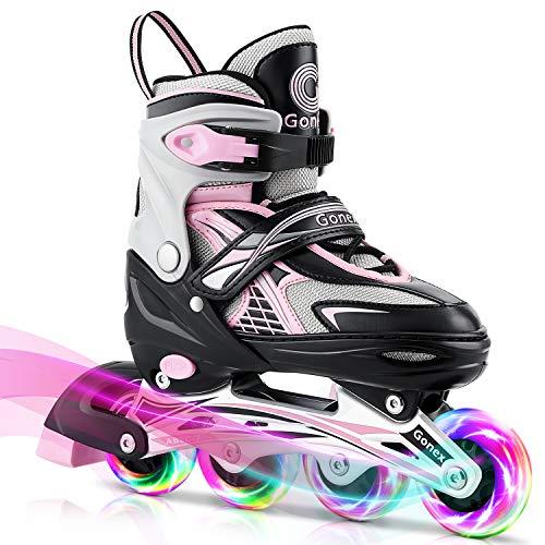 Gonex Pattini in Linea Regolabili per Bambini/Adulto, 4 Ruote Illumina LED, Inline Skates per Bambina Adulti Donna Ragazzo (Taglia EU 31-42)