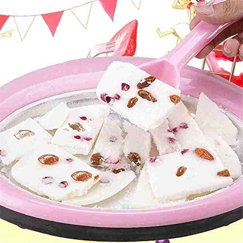 QUUY - Macchina per crema gelata per fabbricanti di yogurt, rotolo di crema gelata, vassoio di crema gelata per sorbettiera istantanea rotonda con 2 spatole per i bambini