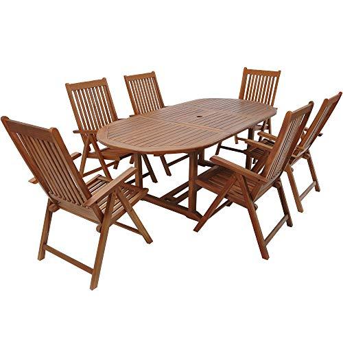 CASARIA Tavolo e sedie da Giardino 7 Pezzi Legno di eucalipto Certificato FSC Tavolo allungabile Set da Pranzo Giardino terrazzo Balcone