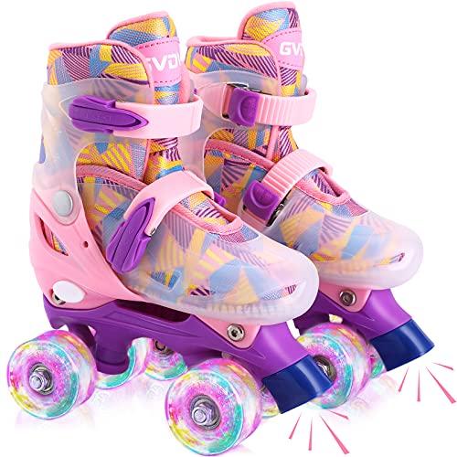 GVDV Pattini a Rotelle Regolabili per Bambini, Pattini Roller Ragazza con Ruote in PU Luminose, Roller Quad Protezione Completa per Principianti