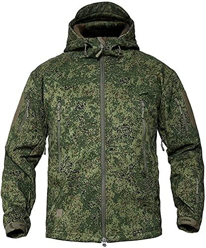 Memoryee Uomo Tattico Camouflage Softshell Giacca Outdoor Militare Pile Fodera Impermeabile Antivento Giubbotto con Cappuccio/Camouflage green/L