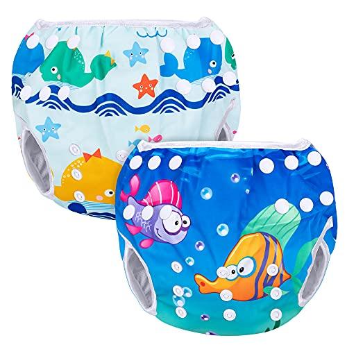 Luxja Riutilizzabile Pannolini da Nuoto (Confezione da 2), Impermeabile Pannolino Piscina, Costume Pannolino Neonato (0-3 Anni), Pesci + Balene