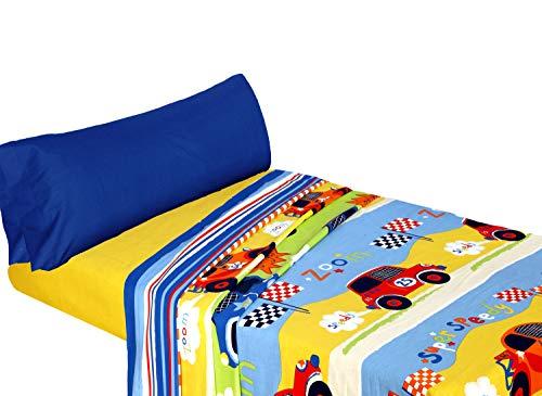 Montse Interiors – Set Lenzuola Singole per Bambini con Federa per Cuscino, Letto da 90cm   Set Lenzuola 50% Cotone, Design Speedy, Macchinine Colorate