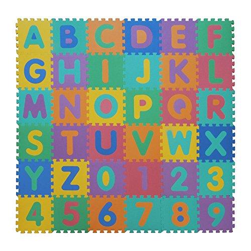 VeloVendo - Tappeto Puzzle con Certificato CE e Testato TÃœV Rheinland in soffice Schiuma Eva | Tappeto da Gioco per Bambini | Tappetino Puzzle (Lettere + Numeri)
