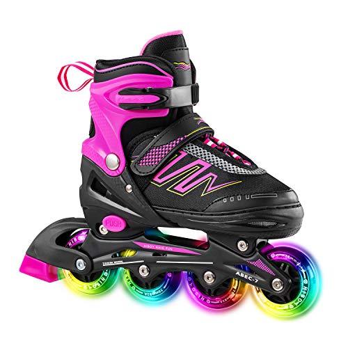 Hiboy - Pattini in linea regolabili con tutte le ruote illuminate e illuminate per interni ed esterni, per ragazzi e ragazze