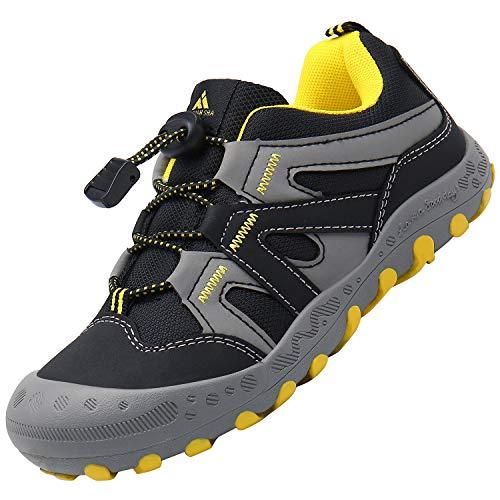 Scarpe Bambini Scarpa da Trekking Ragazzi Antiscivolo Scarpette da Montagna Ragazzo Traspiranti Calzature Bambino Nero 36 EU