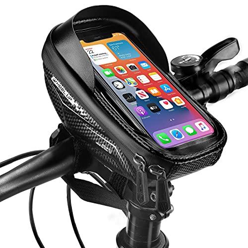 NIVEOLI Borsa Bici Telaio Portacellulare per Bicicletta, Porta Telefono da Bici MTB Borsello Impermeabile da Corsa con Touch Screen, Accessori MTB Compatibile con IPhone/Samsung/Xiaomi sotto 6.5''