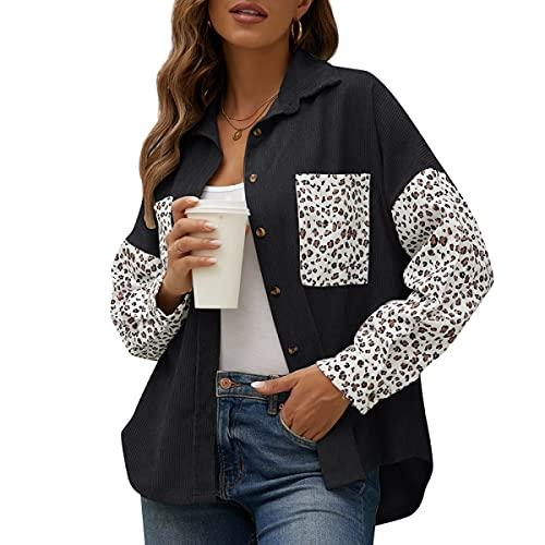 Eogrokerr - Felpa con bottoni in velluto a coste, stampa leopardata, maglietta casual da donna, Nero , XL