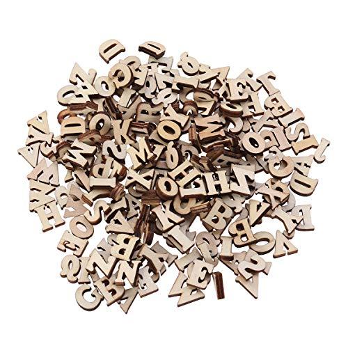 Healifty Lettere in Legno Piccole fette di Legno con Foro Decorazioni Legno Giochi Legno Bambini 15mm 100 Pezzi