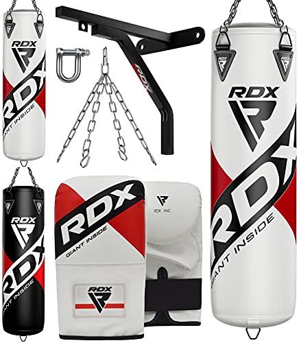 RDX 4PC Sacco da Boxe 4ft 5ft e Guantoni Set, Adulti Sacchi Pugilato con Catena e Supporto Muro per Muay Thai, Sparring, Kickboxing Allenamento, Punzonatura, Arti Marziali, MMA