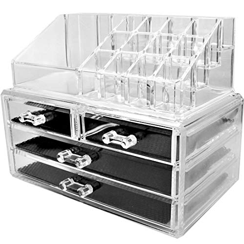 TEMPO DI SALDI Organizzatore Per Cosmetici Con 4 Cassetti Make Up Accessori Bagno Trasparente