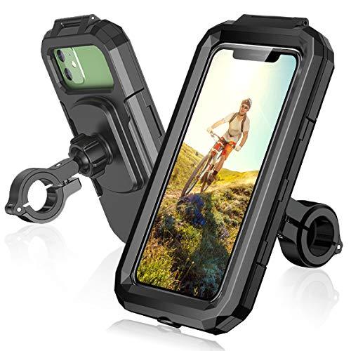ENONEO Supporto Smartphone per Moto Impermeabile 360°Gradi Universale Porta Cellulare da Bicicletta con Toccare ID Viso ID Supporto Smartphone Bici Corsa per Telefono 5,5 a 6,8 Pollici (L, Nero)