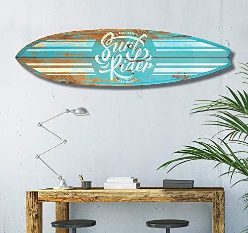 HXA DECO - Tavola da surf per decorazione parete, stampa su alluminio Dibond, motivo: Surf California, 145 x 40 cm, Carta, Surf Blue California, 145x40 Cm, 145x40