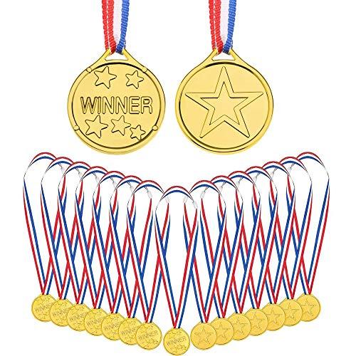 Lazz1on 24 Pezzi Medaglia per Bambini del Vincitore in Plastica Oro Medaglie Premio Vincitore per Festa Piccolo Giocattolo Sport Giorno Ricompensa Concorso