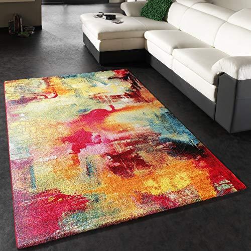 Paco Home Tappeto dal Design Moderno E Motivo Tela mélange - Verde, Blu, Rosso, Giallo, Dimensione:120x170 cm