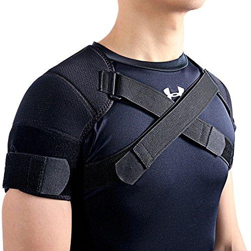 Kuangmi, supporto doppio regolabile per le spalle, per lo sport, colore nero, 1 pezzo, Black, XXL