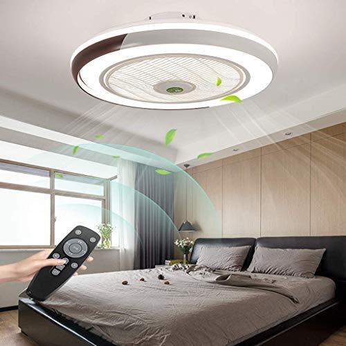 HYKISS LED Ventilatore A Soffitto con Lampada Moderno Invisibile Fan Plafoniera velocità del Vento Regolabile Ventilatore A Soffitto con Luci LED Dimmerabile Plafoniera con Fan Illuminazione,Marrone
