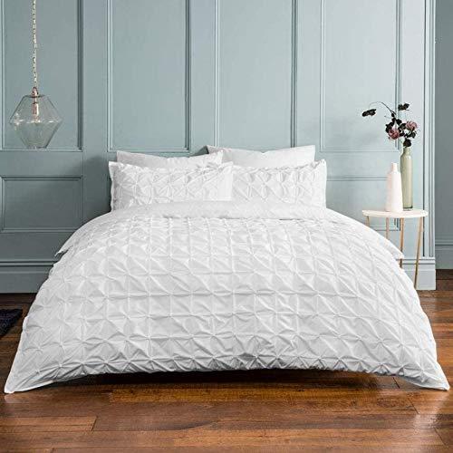Sleepdown - Set di biancheria da letto double-face, con federe, in misto cotone, colore: bianco