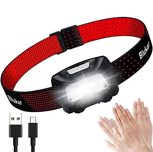 Blukar Lampada Frontale LED, Torcia Frontale LED USB Ricaricabile con Sensore Movimento, Impermeabile Luce Frontale Lampade da Testa con 6 Modalità di Illuminazione per Campeggio, Corsa, Pesca
