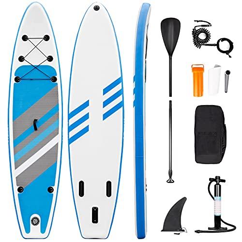 Tavola da SUP Gonfiabile Stand Up Paddle Board - Set tavola da surf con Accessori Completi, Pagaia Regolabile, Pompa, Zaino, Linea di Sicurezza305 x 76 x 15 cm (Blu-Barra)