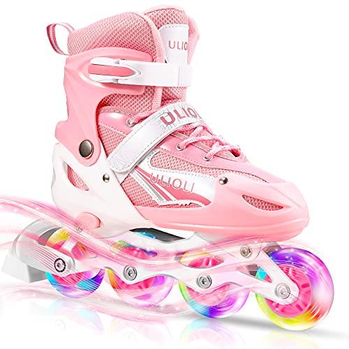 Pattini in Linea Regolabili con LED Ruote, ULIOLI Inline Skates Illuminate per Ragazzi/Bambini/Adulti, Pattini Fila Confortevole e Traspiranti con 8 Rotelle Illuminanti (EU 28-42) Rosa