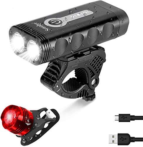 SEWOBYE Luci Bicicletta LED Ricaricabili USB 2400 Lumen, Super Luminoso Luci Bici con Display LED, Luce Bici 5 Modes Adatto per Corsa MTB Monopattino Elettrico Bici da Strada (Batteria Indicatore)