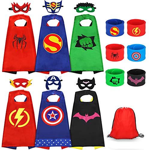 Jojoin 6 PCS Costumi da Supereroi per Bambini, 6 Maschere di Supereroi, 6 Superhero Braccialetti Slap e 1 Borsa portaoggetti, Costumi Carnevale Mantelli Giocattoli regalo per bambini Halloween Festa