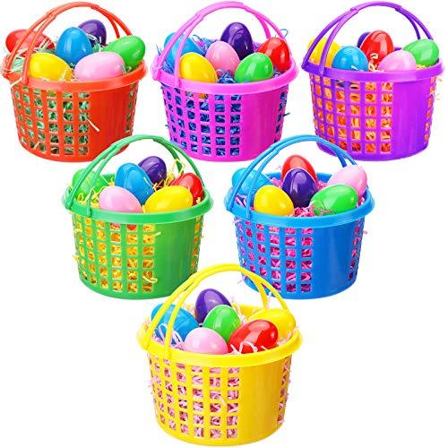 Set di Cestini per Uova di Pasqua da 48 Pezzi Include 6 Cestini in Plastica per Caccia alle Uova con Manico 36 Uova di Pasqua Colorate in Plastica Riempibili 6 Confezione Rafia di Pasqua