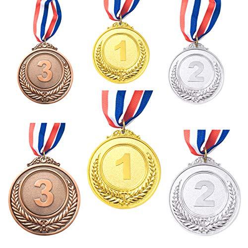 CKANDAY 6 pezzi medaglie premio argento dorato bronzo, medaglie in metallo premi con nastro per collo per gare stile olimpico, 2 dimensioni, 2,55 / 1,96 pollici