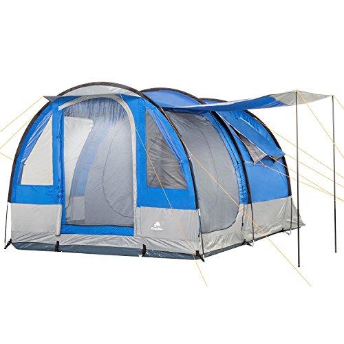 CampFeuer Tenda da Campeggio Smart per 4 Persone | Tenda familiare Grande con 3 entrate e 2.000 mm di Colonna d'Acqua | Tenda a Tunnel | Tenda per Gruppi (Blu/Grigio)