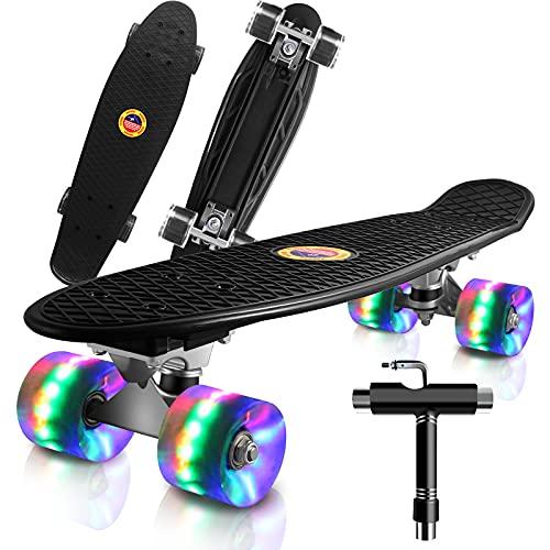 Cutemelo Skateboards 55cm Mini Cruiser Skateboard Completo retrò per Ragazzo, Ragazza, Giovani, Adulti, Principianti con Ruote LED Lampeggianti, con Strumento T (Nero)
