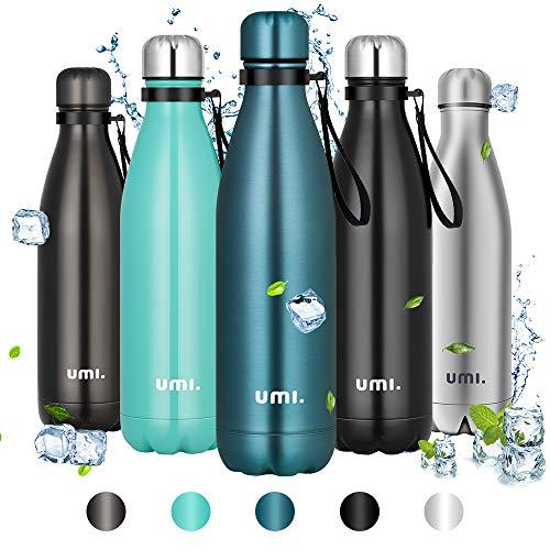 Amazon Brand - Umi Borraccia Termica, 750ml Bottiglia Acqua in Acciaio Inox, Senza BPA, 24 Ore Freddo & 12 Caldo, Borracce per Scuola, Sport, All'aperto, Palestra, Yoga (Blu)